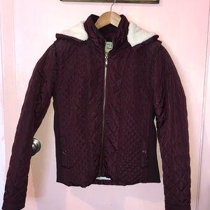 Ci Sono Maroon Jacket with Fur